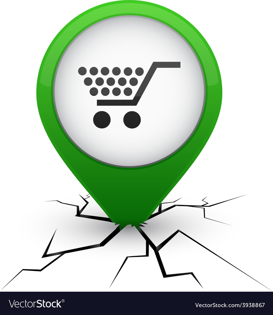 Shopping green icon in crack vector | Price: 1 Credit (USD $1)