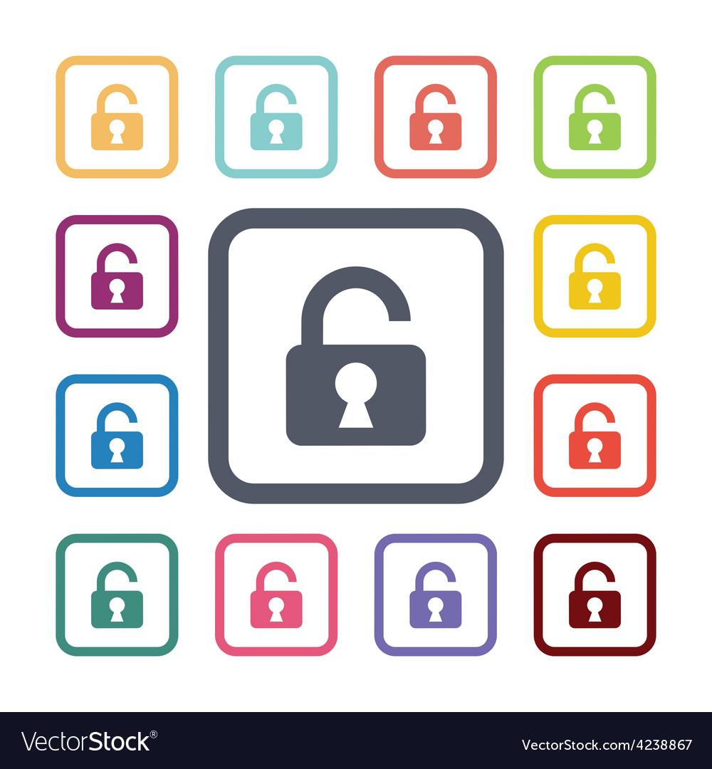 Unlock flat icons set vector   Price: 1 Credit (USD $1)