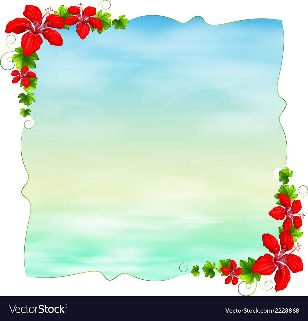 An empty template with floral borders vector | Price: 1 Credit (USD $1)