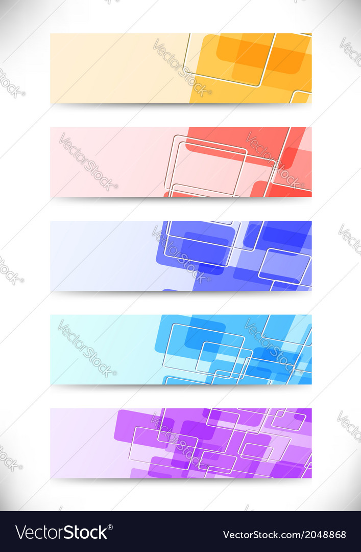 Bright colorful tiles fly banners set vector | Price: 1 Credit (USD $1)