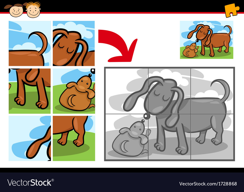 Cartoon puppy jigsaw puzzle game vector | Price: 1 Credit (USD $1)