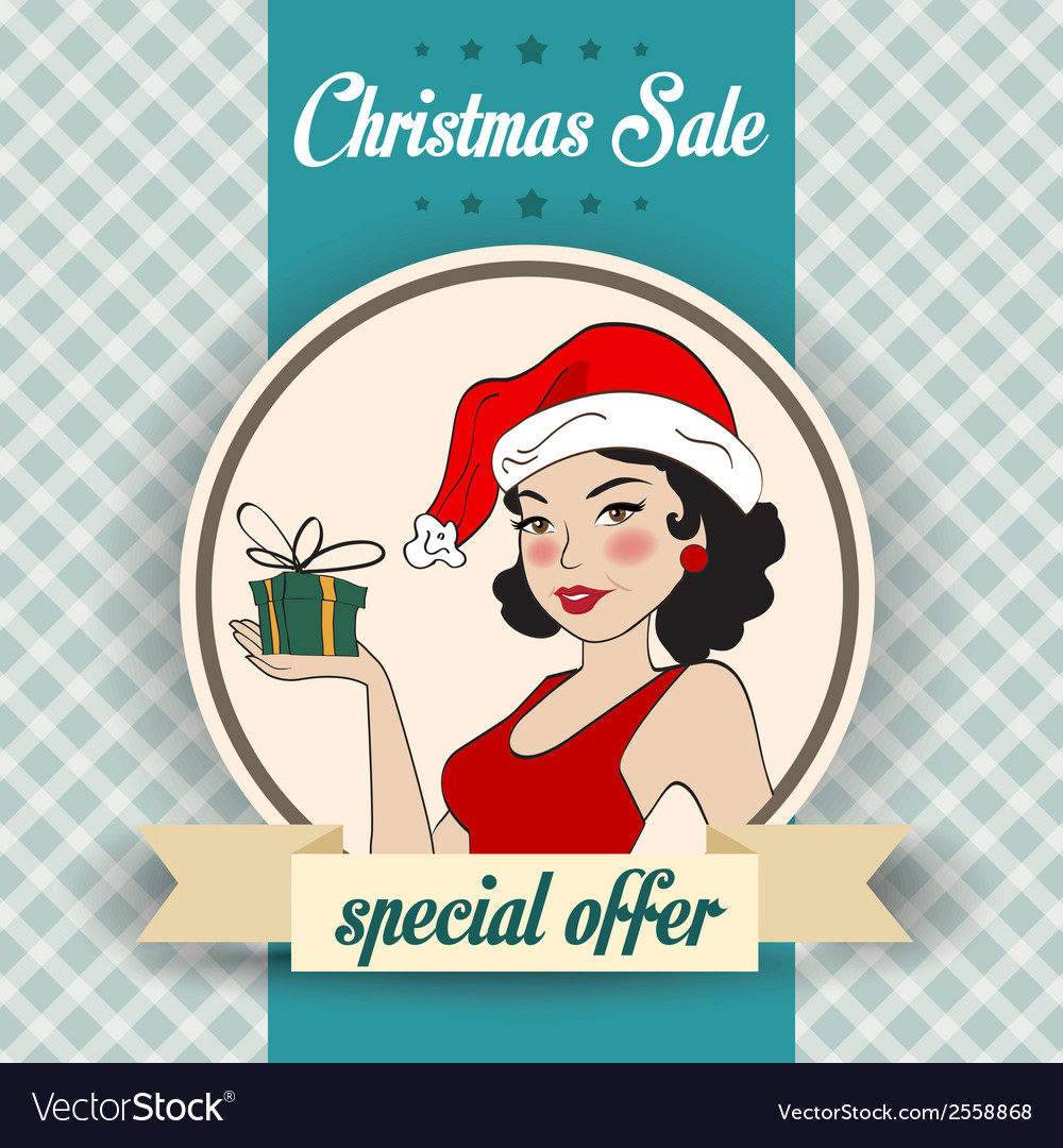 Christmas sale design with sexy santa girl vector | Price: 1 Credit (USD $1)