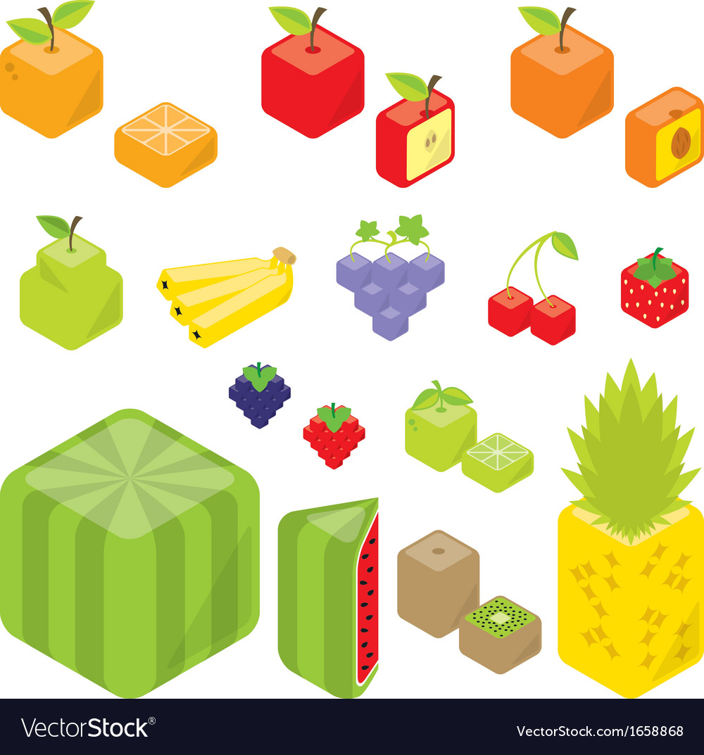 Cubic fruits vector | Price: 1 Credit (USD $1)