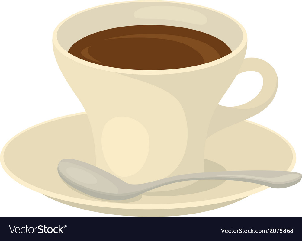 Cup of coffee saucer and spoon vector   Price: 1 Credit (USD $1)