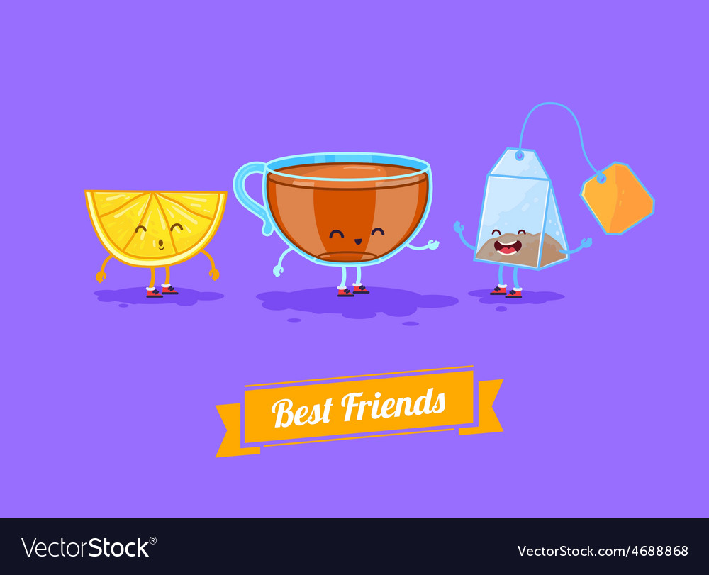 Funny cartoon funny cup lemon and teabag vector | Price: 1 Credit (USD $1)
