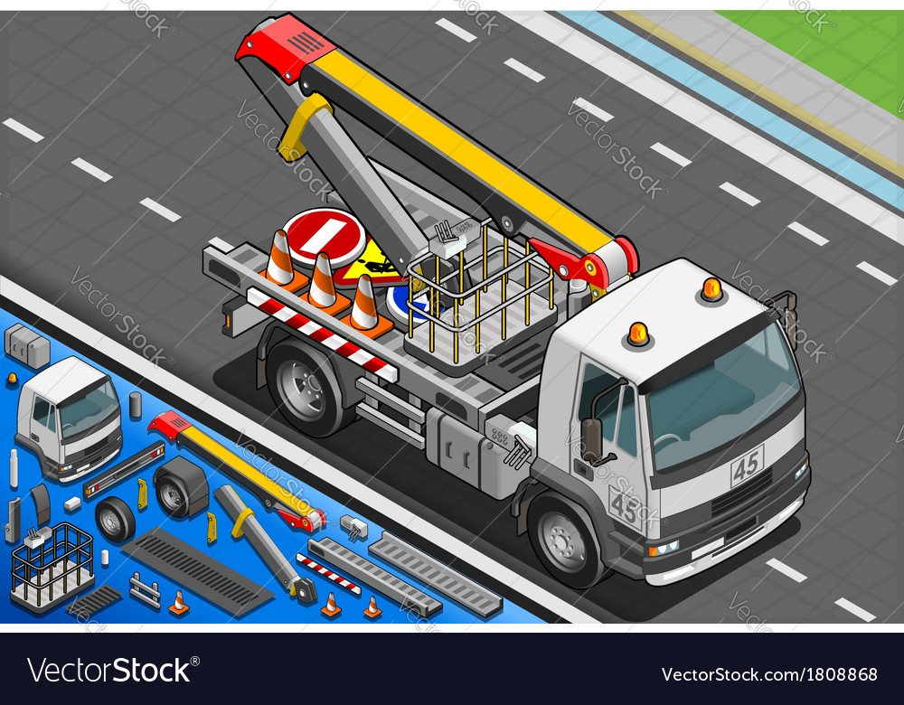 Isometric platform lift truck in front view vector | Price: 1 Credit (USD $1)