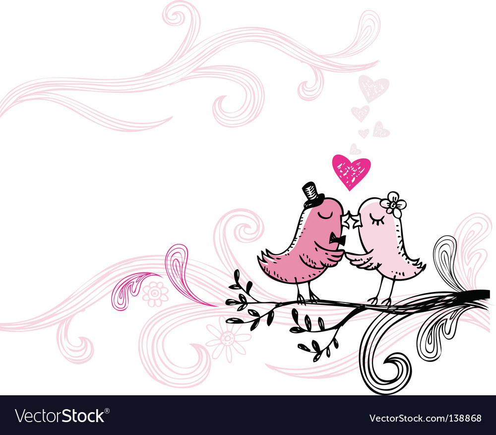 Kissing birds vector | Price: 3 Credit (USD $3)