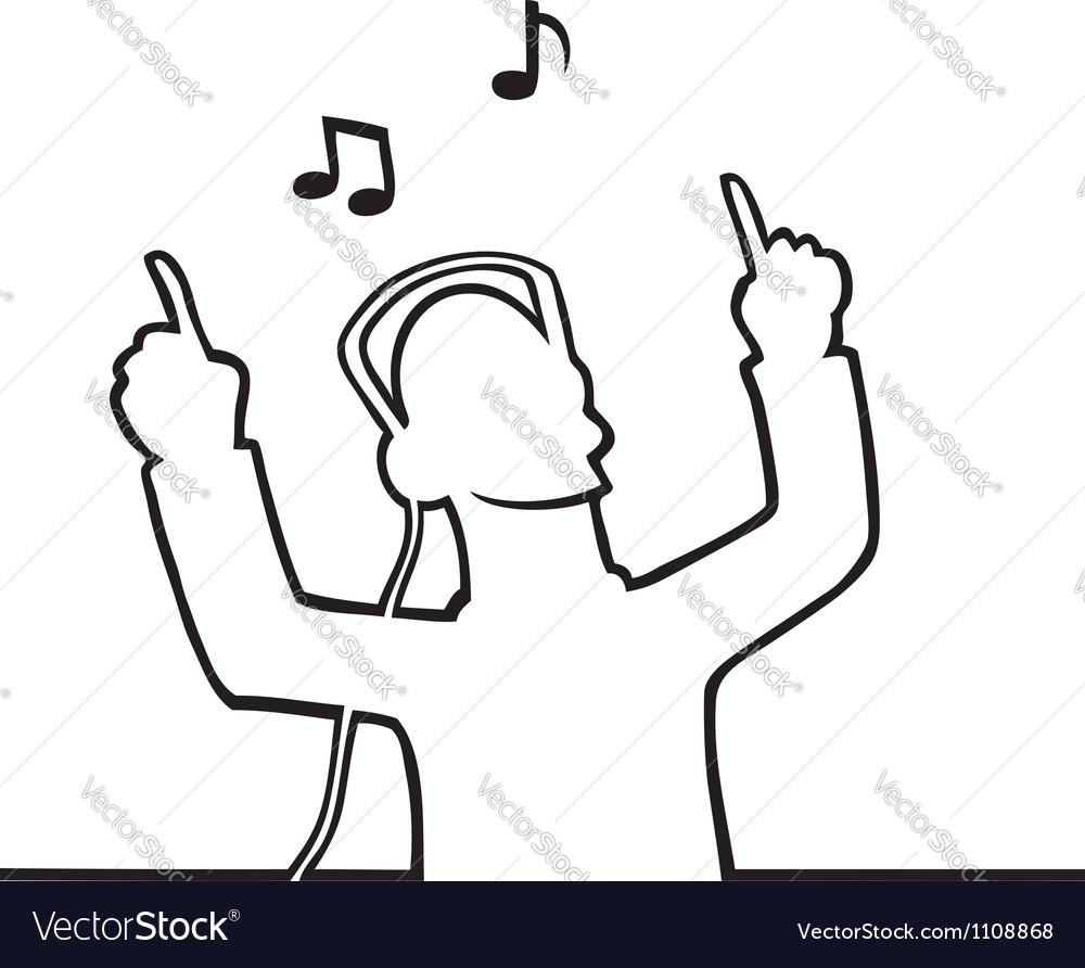 Listening to music through headphones vector | Price: 1 Credit (USD $1)