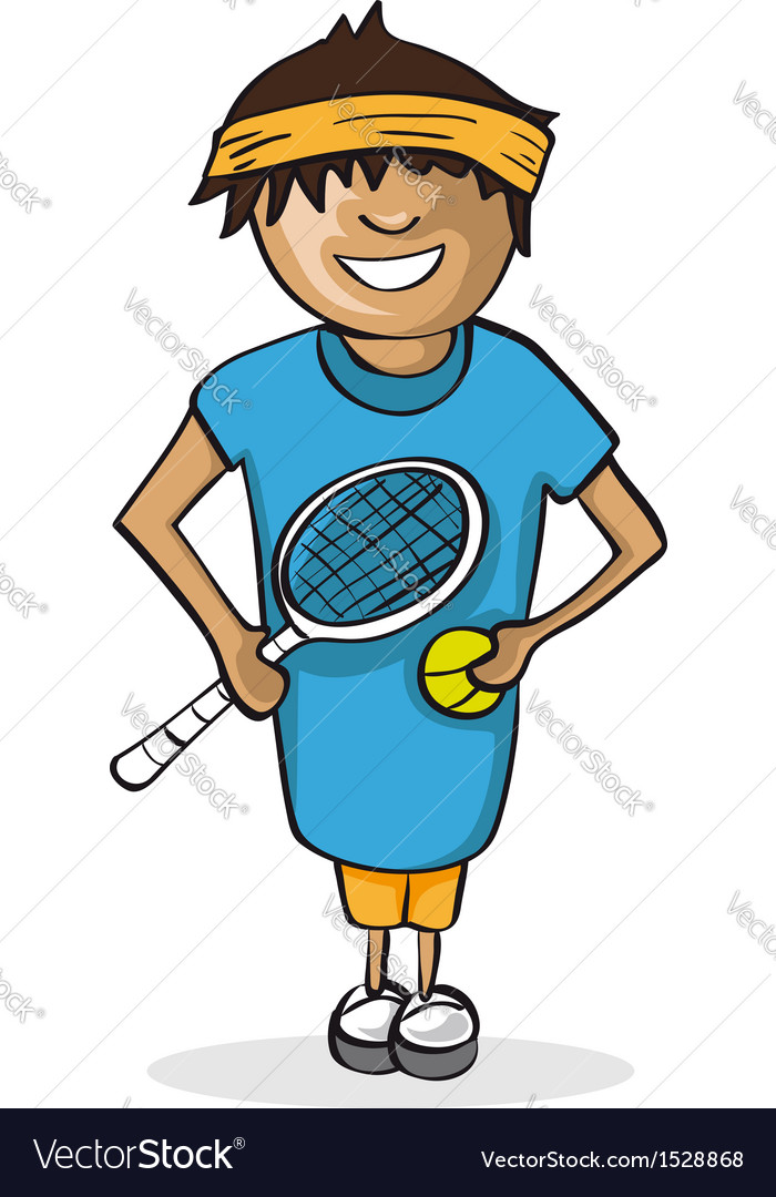 Professional tennis player man cartoon figure vector | Price: 1 Credit (USD $1)