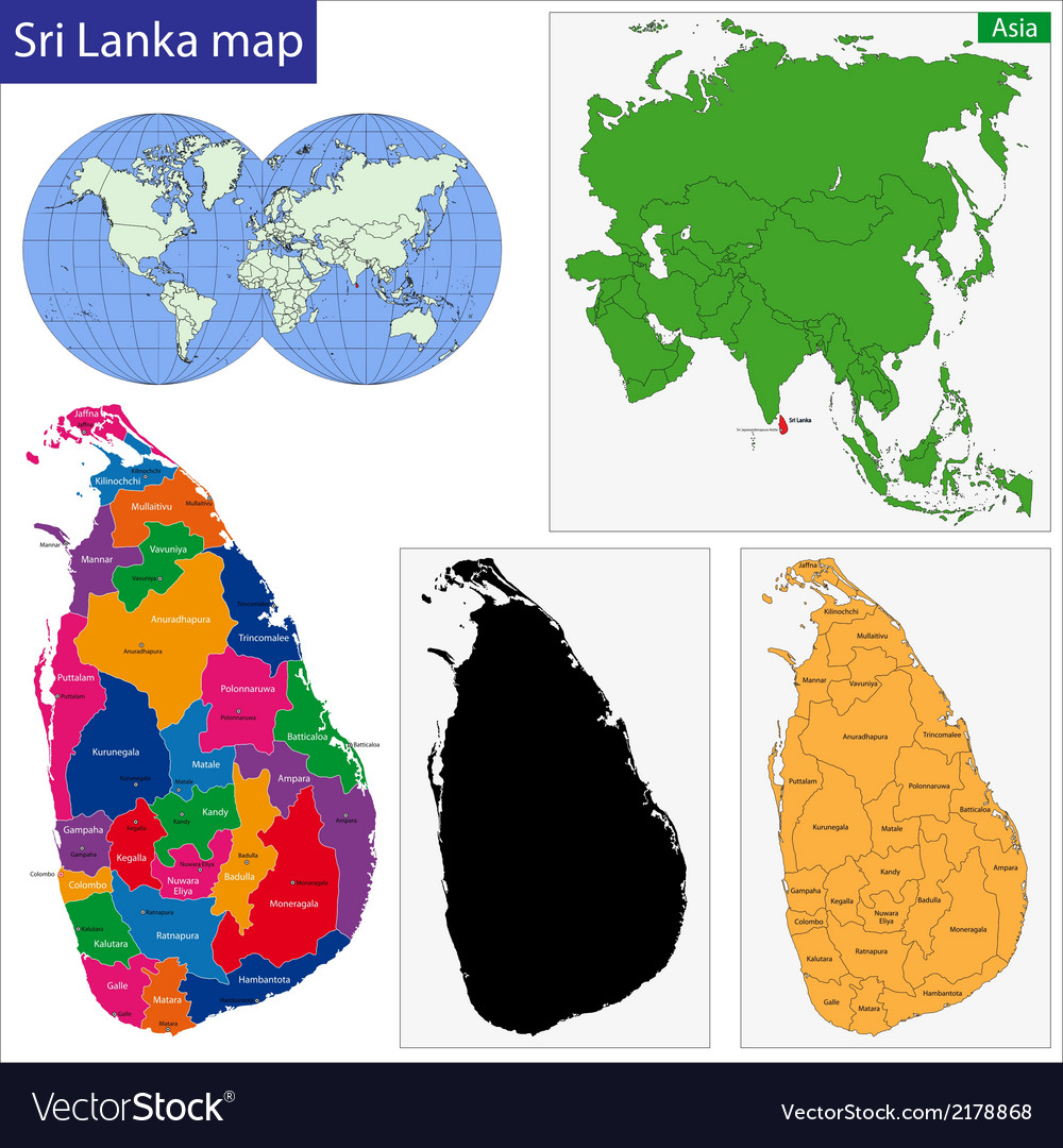 Sri lanka map vector | Price: 1 Credit (USD $1)