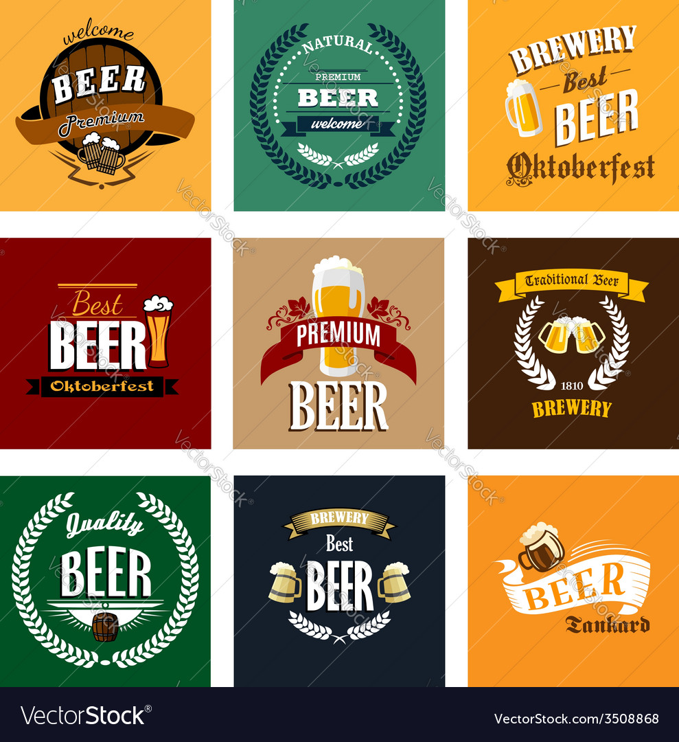 Vintage beer labels and emblems collection vector | Price: 1 Credit (USD $1)