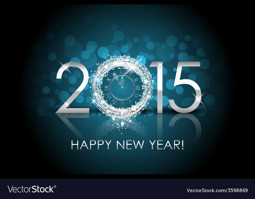 2015 happy new year background with silver clock vector | Price: 1 Credit (USD $1)