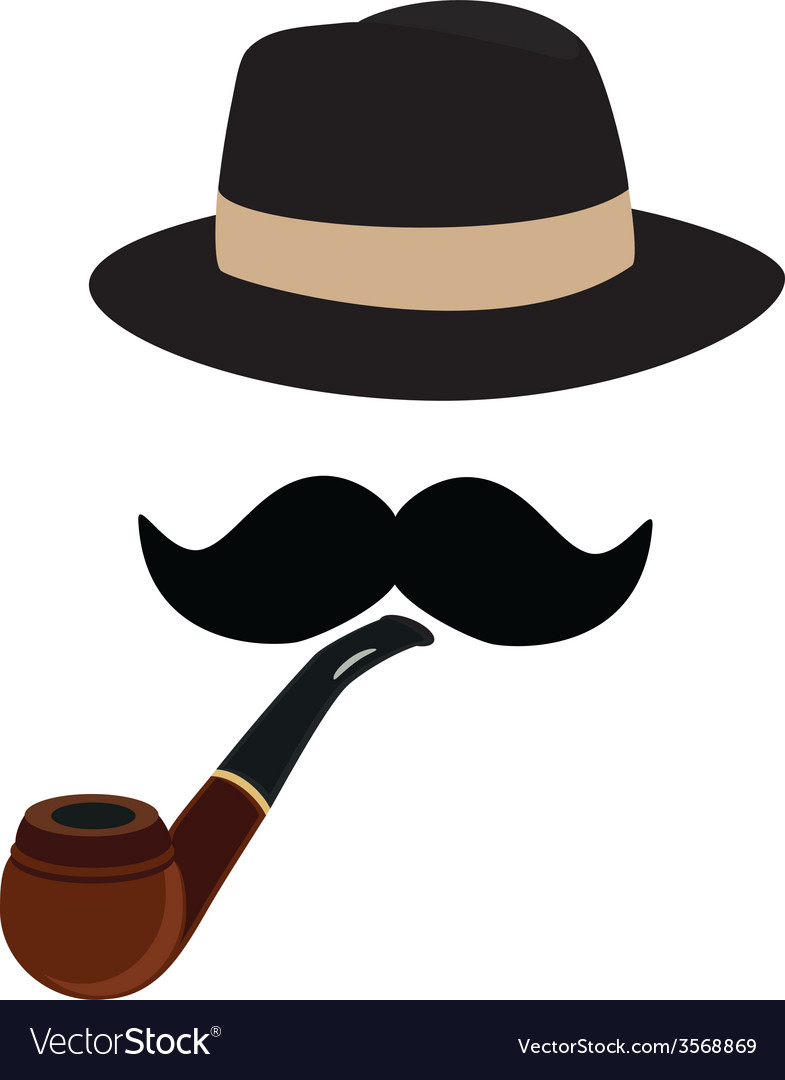 Fedora hat smoking pipe and mustache vector | Price: 1 Credit (USD $1)