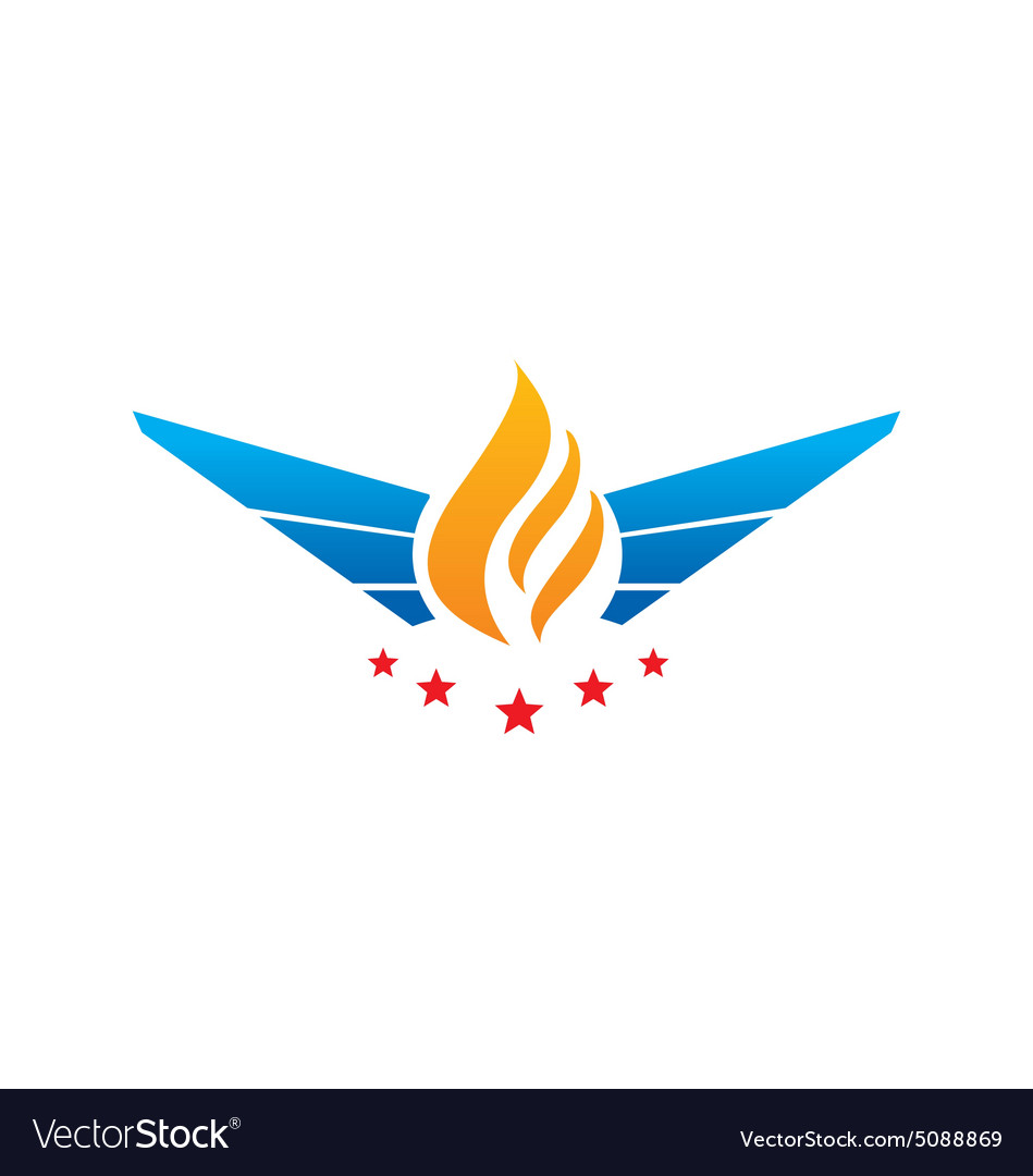 Fire wing abstract star logo vector