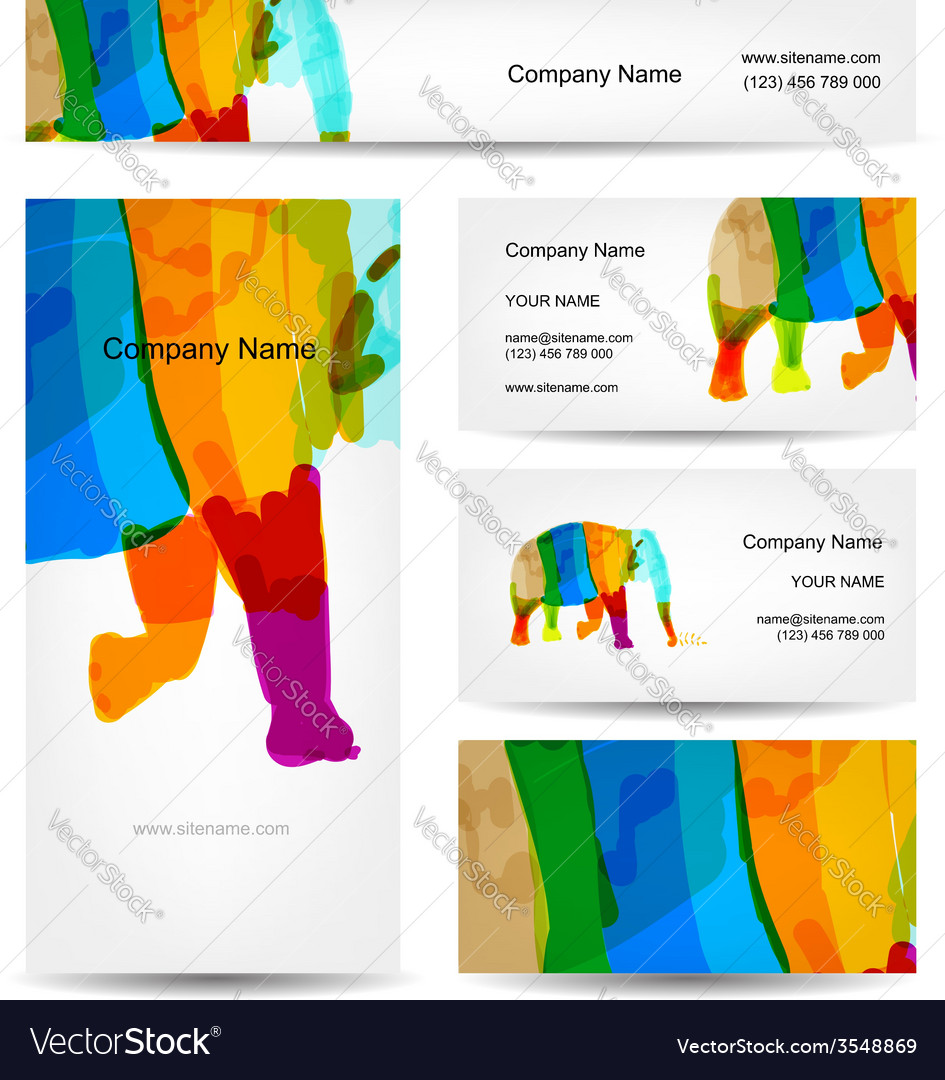 Funny striped elephant business card for your vector