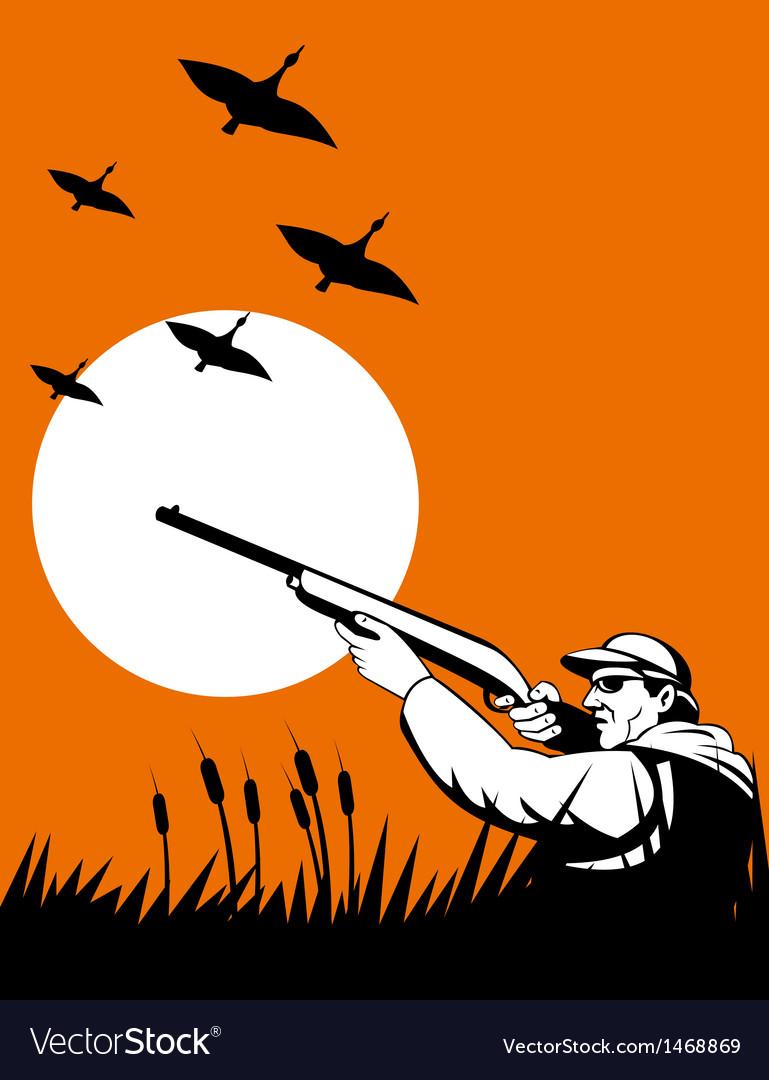 Hunter aiming shotgun rifle vector   Price: 1 Credit (USD $1)