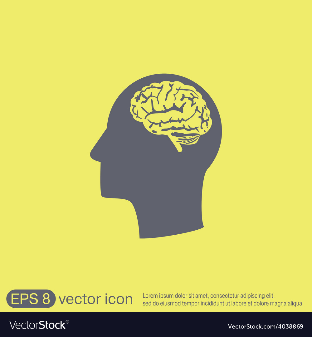 Icon head with brain mind and science vector | Price: 1 Credit (USD $1)