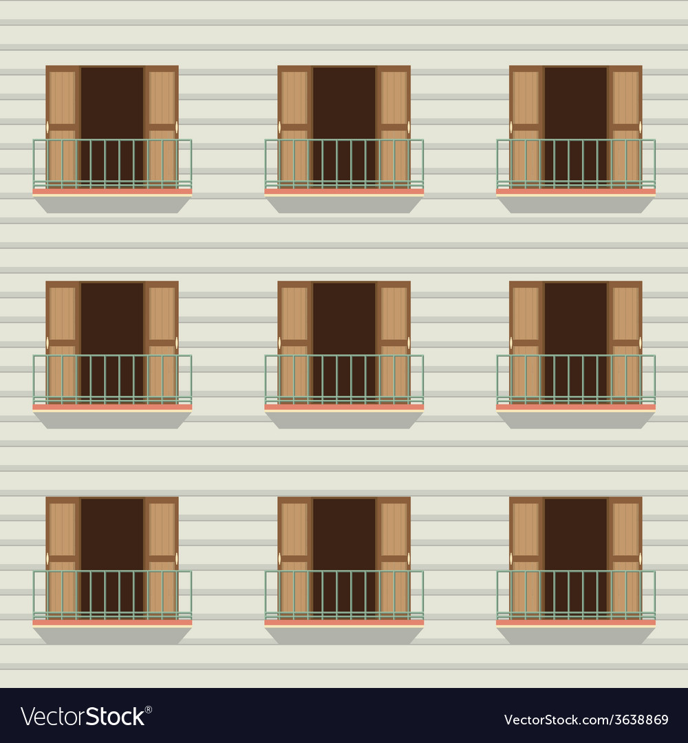 Open doors with balcony vintage style vector | Price: 1 Credit (USD $1)
