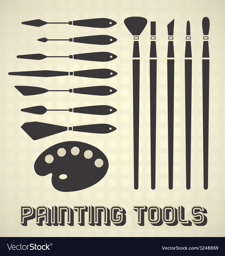 Painting tools collection vector | Price: 1 Credit (USD $1)