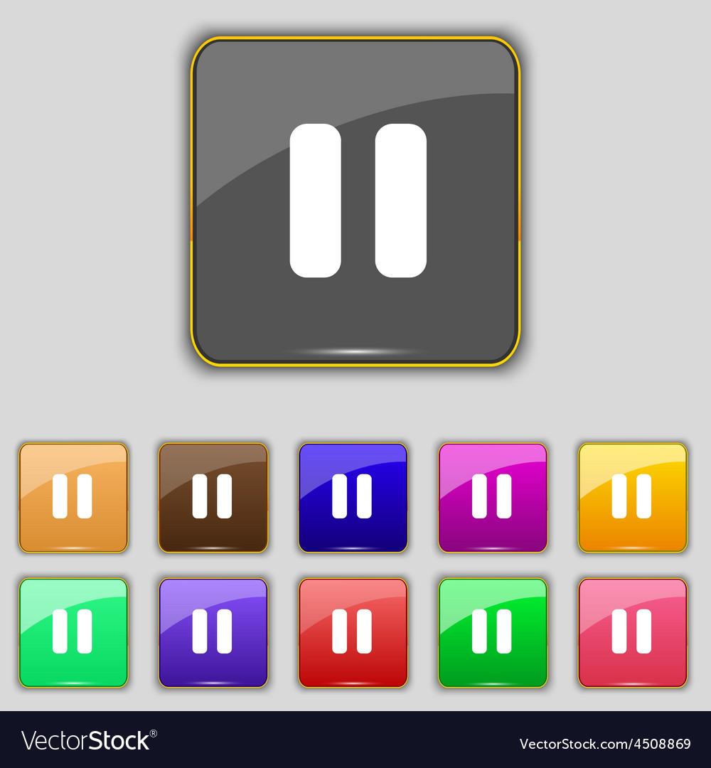 Pause icon sign set with eleven colored buttons vector | Price: 1 Credit (USD $1)