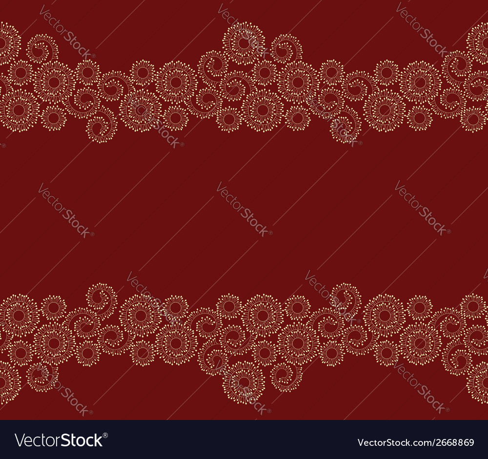 Seamless beige border on red background vector | Price: 1 Credit (USD $1)