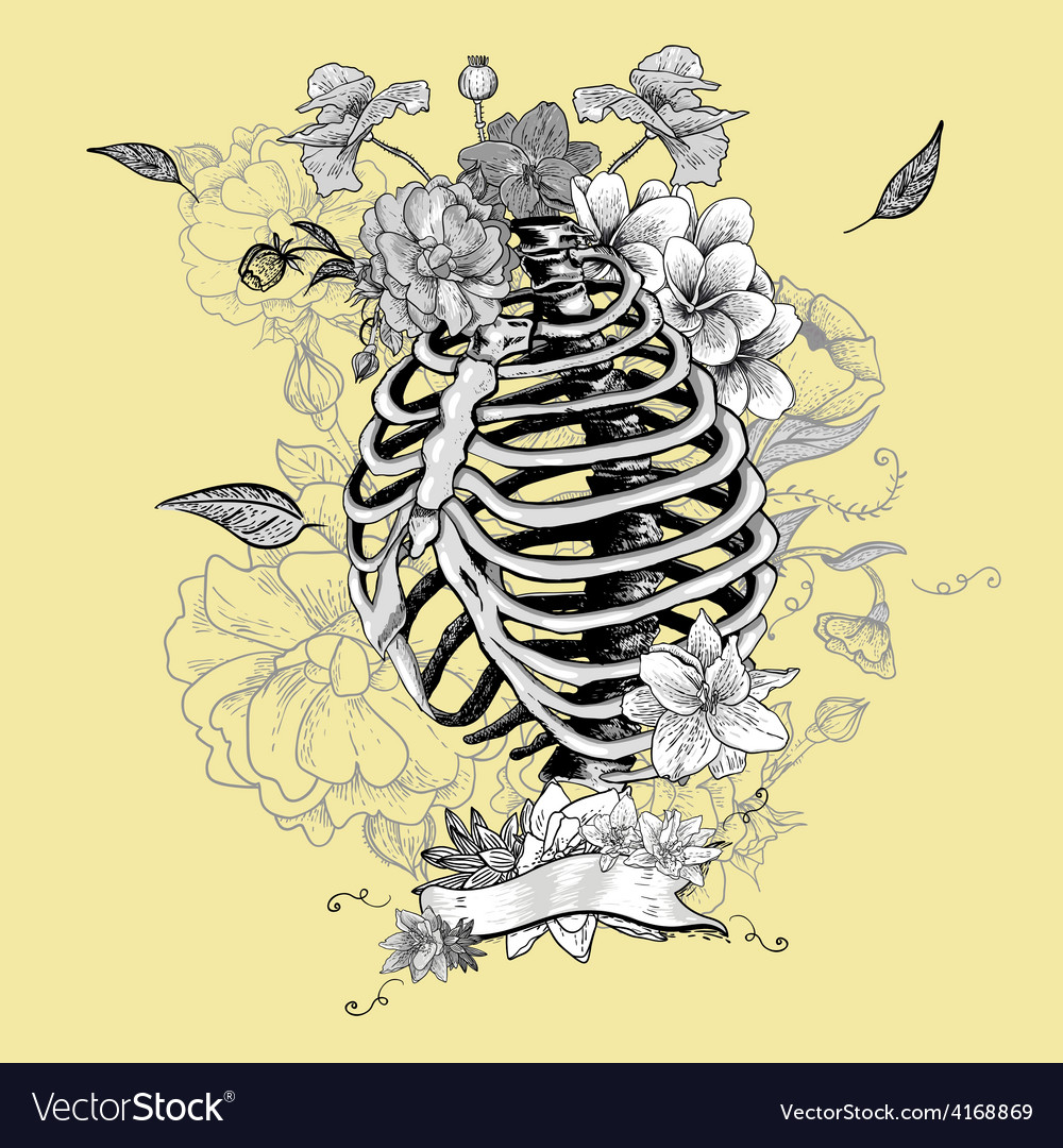 Skeleton ribs and flowers vector | Price: 1 Credit (USD $1)