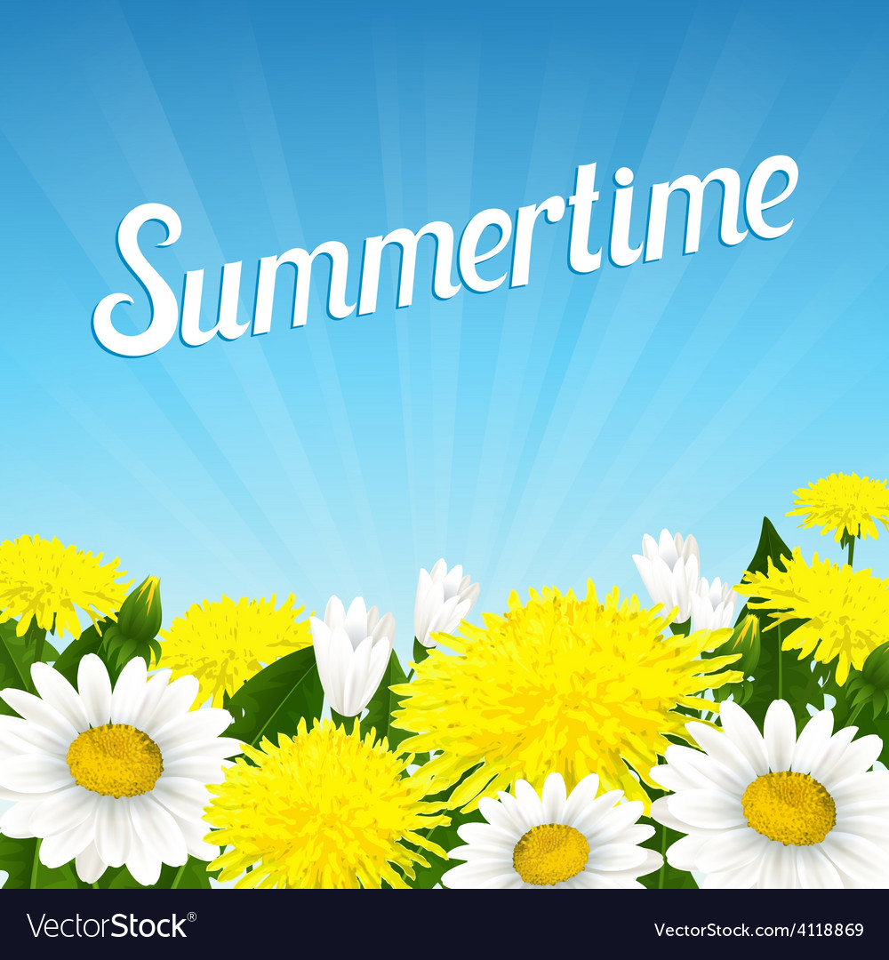 Summer beautiful flowers vector | Price: 3 Credit (USD $3)