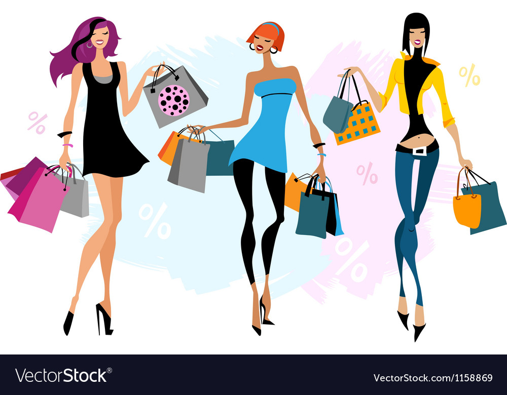 Tthree women with shopping bags vector