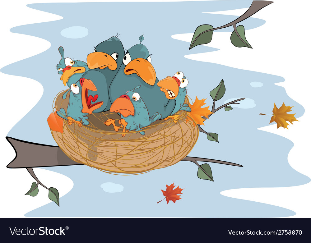 Birds with her four babies in the nest cartoon vector | Price: 1 Credit (USD $1)