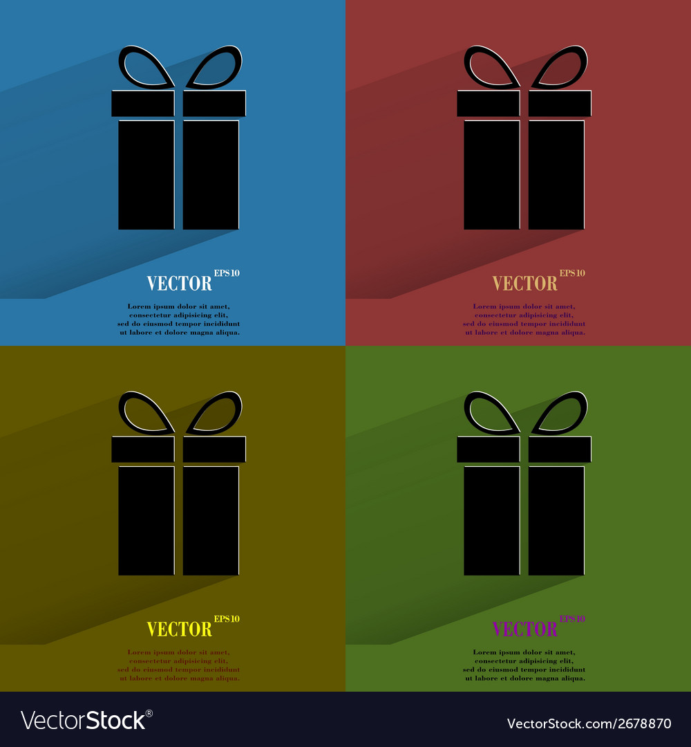 Color set gift web icon flat design vector | Price: 1 Credit (USD $1)