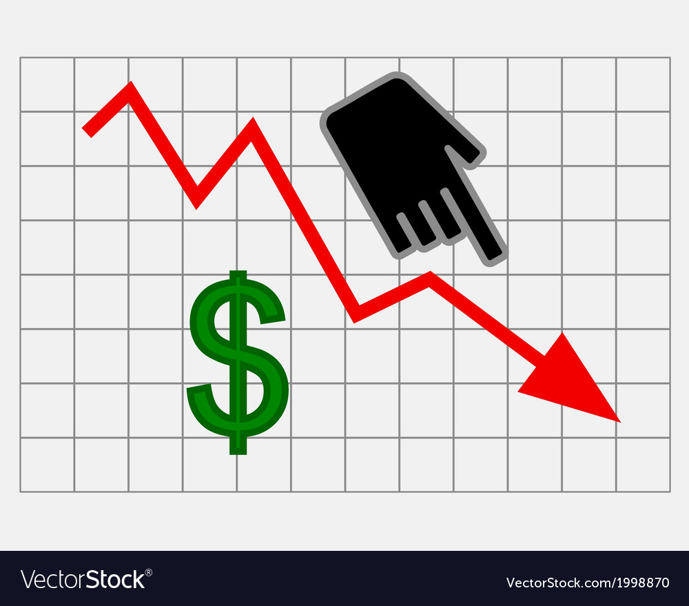 Declining equity price of dollar vector | Price: 1 Credit (USD $1)