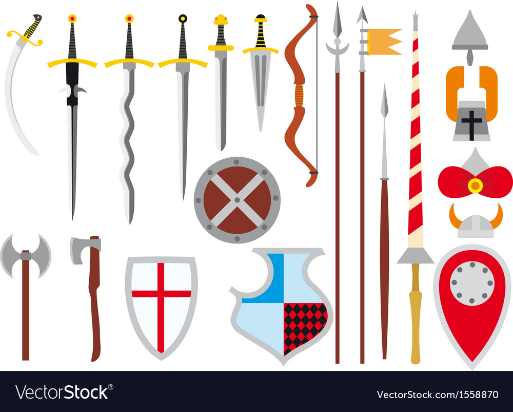 Large set of medieval weapons vector | Price: 1 Credit (USD $1)