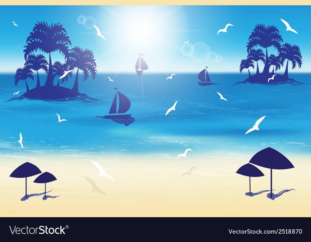 Sand beach small islands vector | Price: 1 Credit (USD $1)