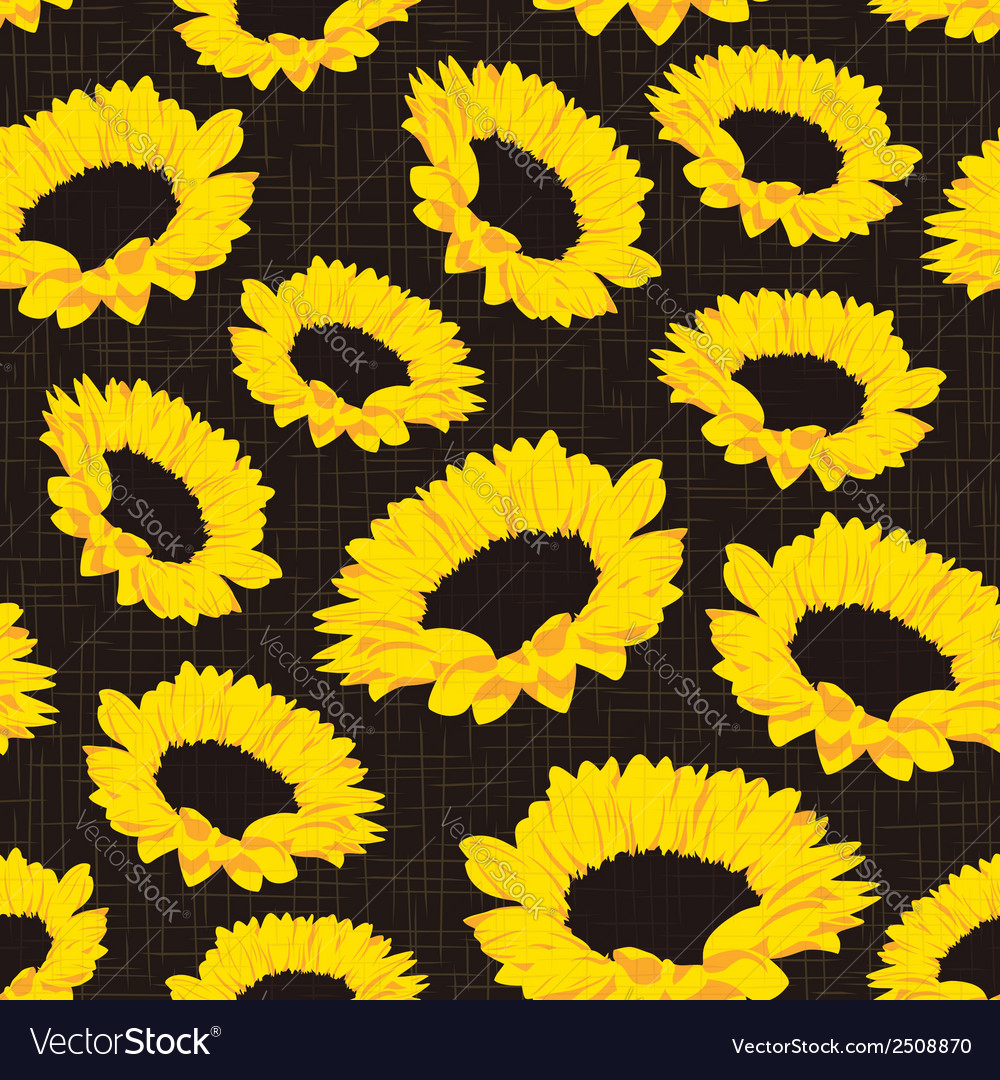 Seamless pattern of sunflowers vector | Price: 1 Credit (USD $1)