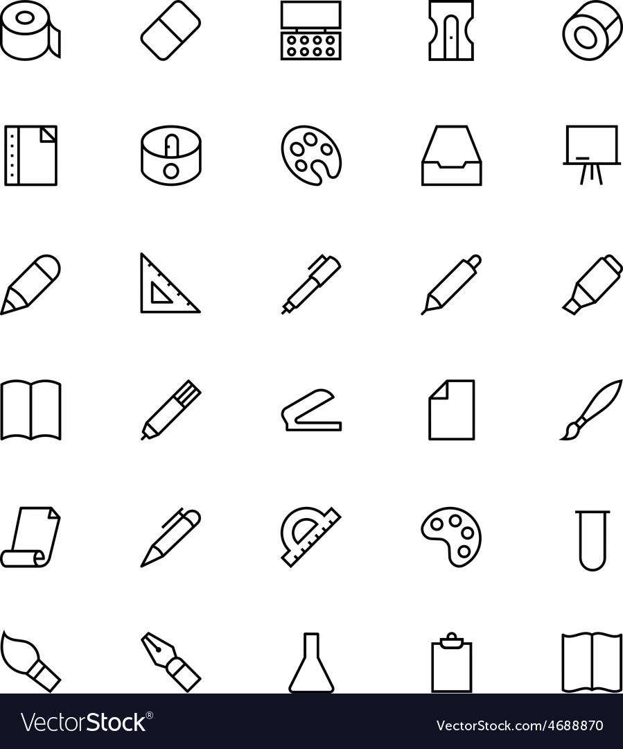 Stationery line icons 2 vector | Price: 1 Credit (USD $1)