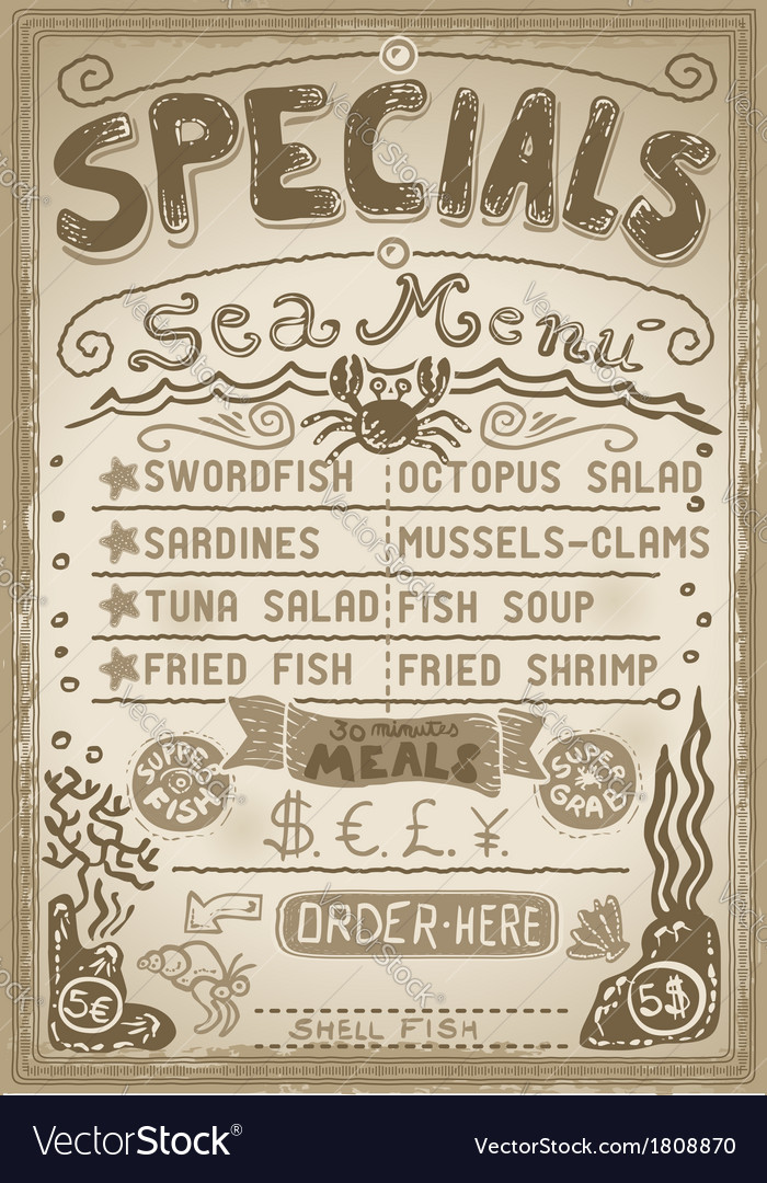 Vintage graphic page menu for bar or restaurant vector | Price: 1 Credit (USD $1)