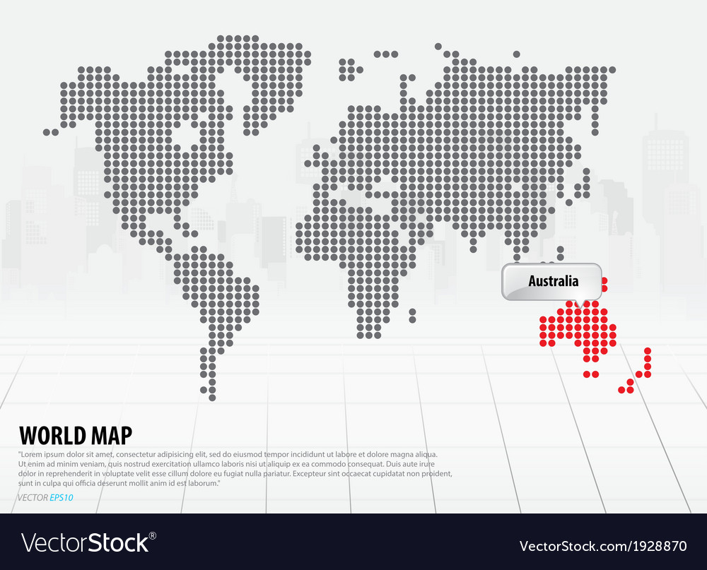 World map with continents australia vector   Price: 1 Credit (USD $1)