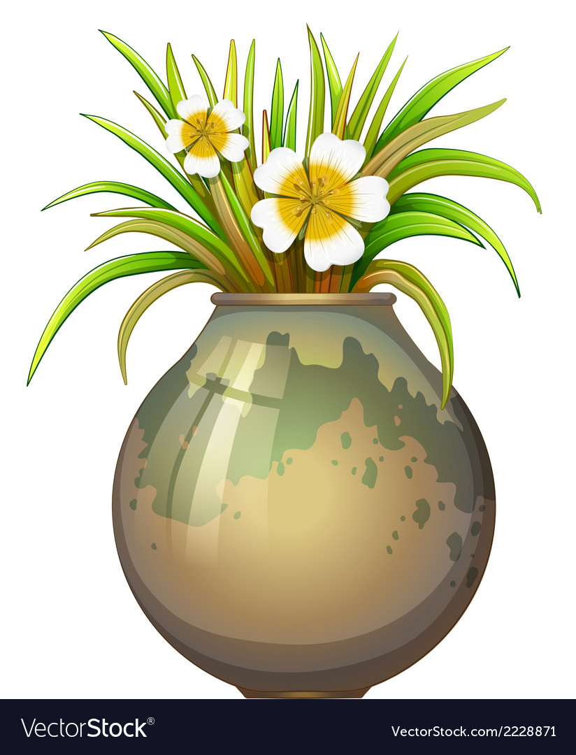 A big pot container with a flowering plant vector | Price: 1 Credit (USD $1)
