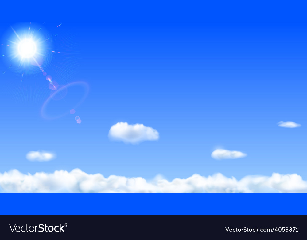 Blue sky with sun and clouds vector   Price: 1 Credit (USD $1)