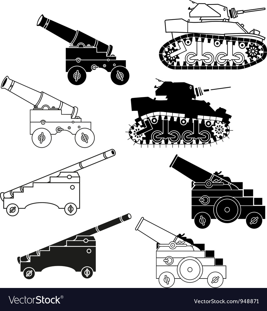 Cannons and tanks vector | Price: 1 Credit (USD $1)
