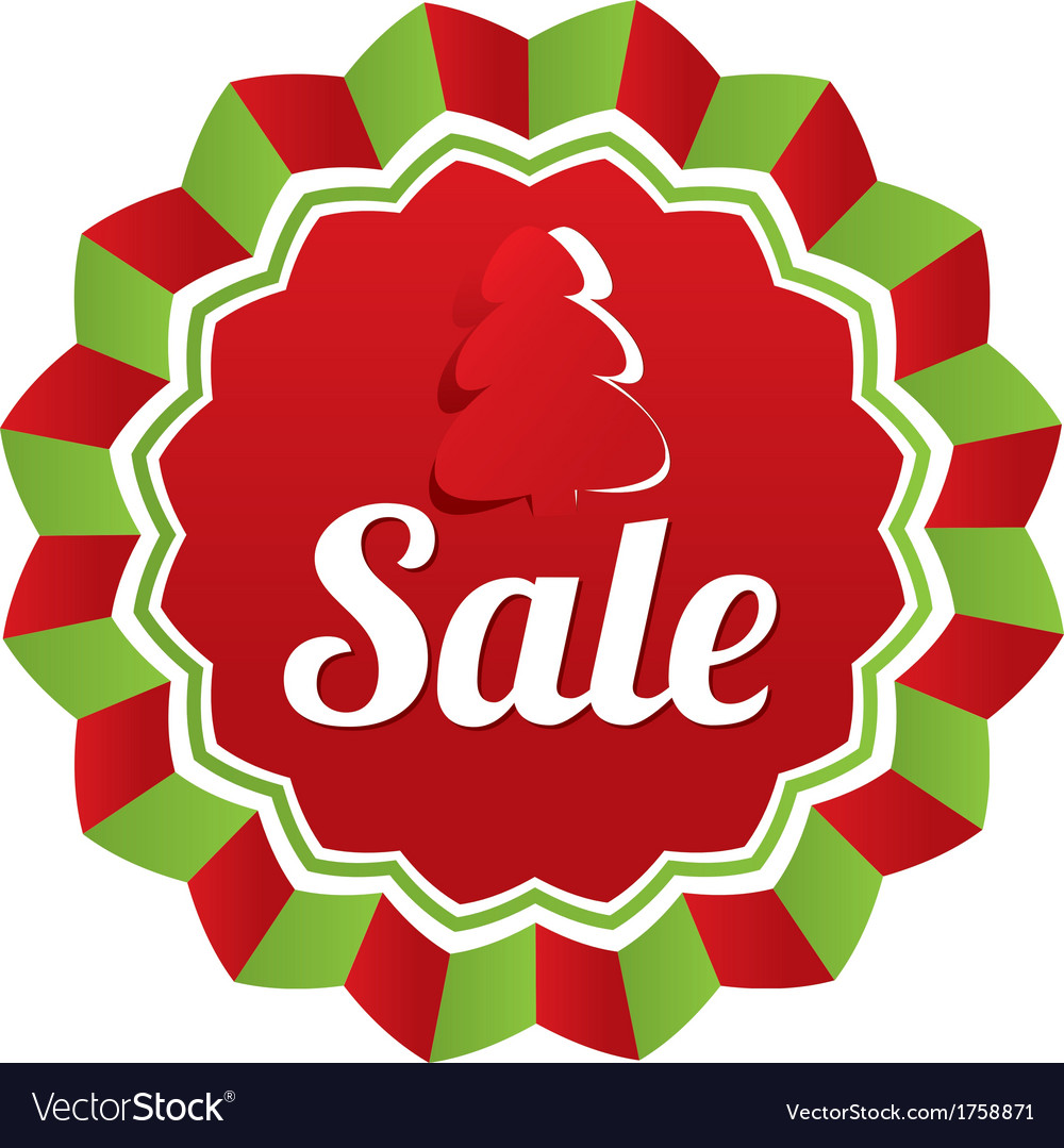 Christmas sale special offer label paper tree vector | Price: 1 Credit (USD $1)