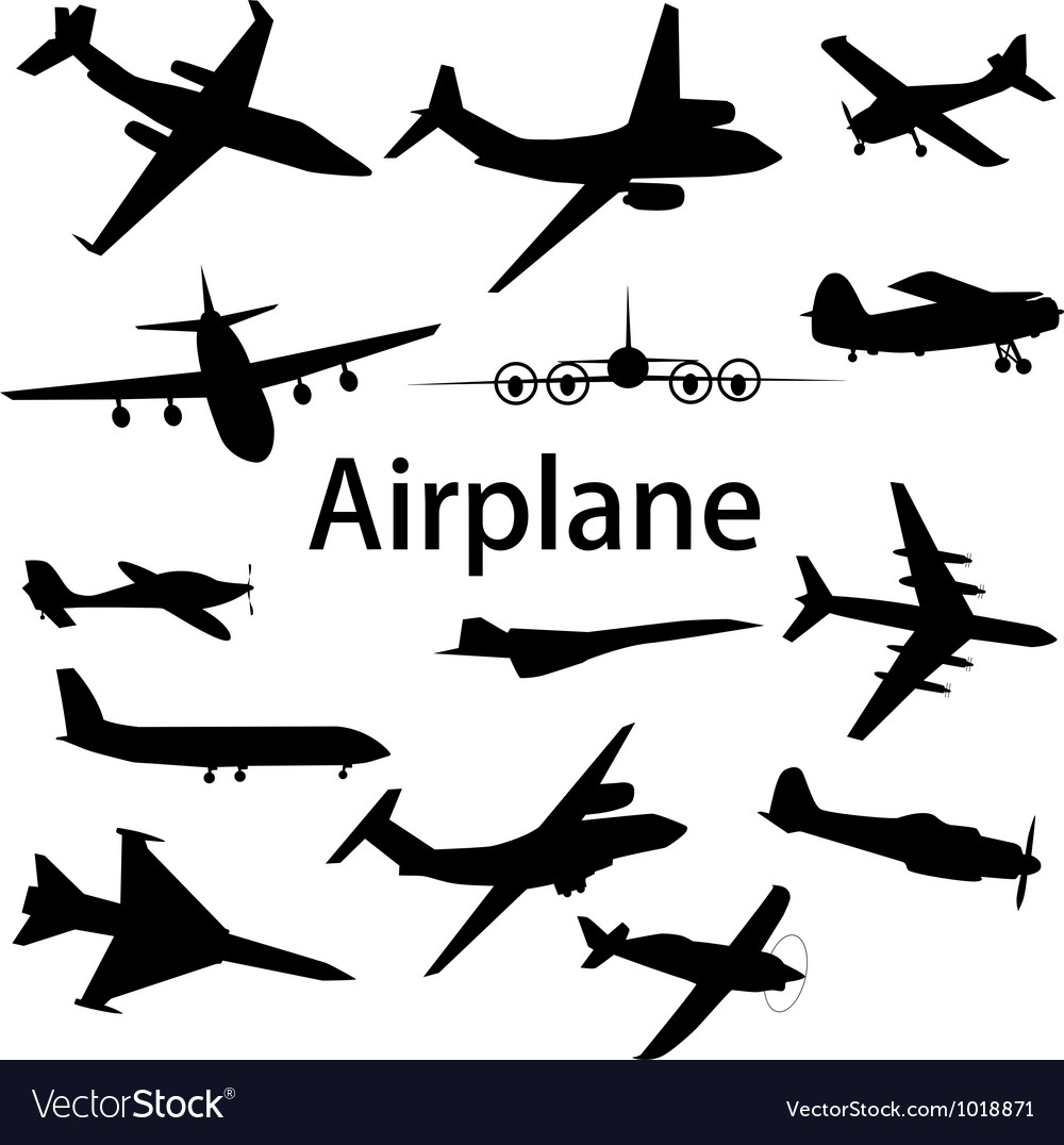 Collection of different airplane silhouettes vector | Price: 1 Credit (USD $1)