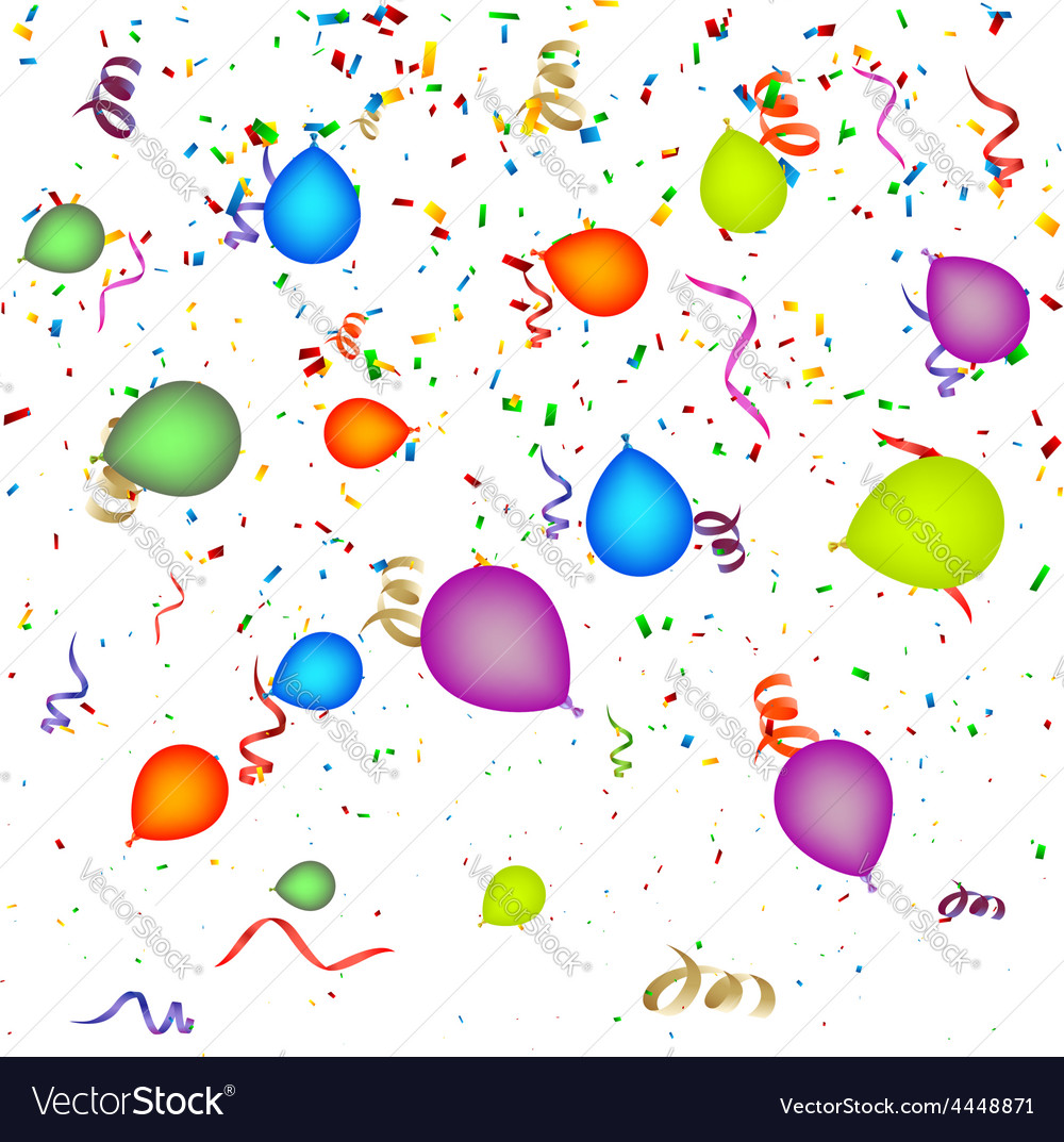 Confetti with balloons background vector | Price: 1 Credit (USD $1)
