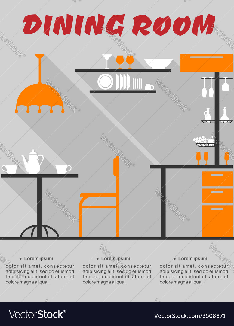 Dining room interior in flat format vector | Price: 1 Credit (USD $1)