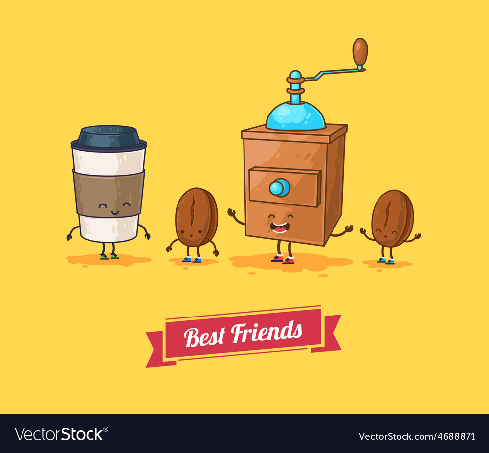 Funny cartoon funny coffee beans ans vector | Price: 1 Credit (USD $1)