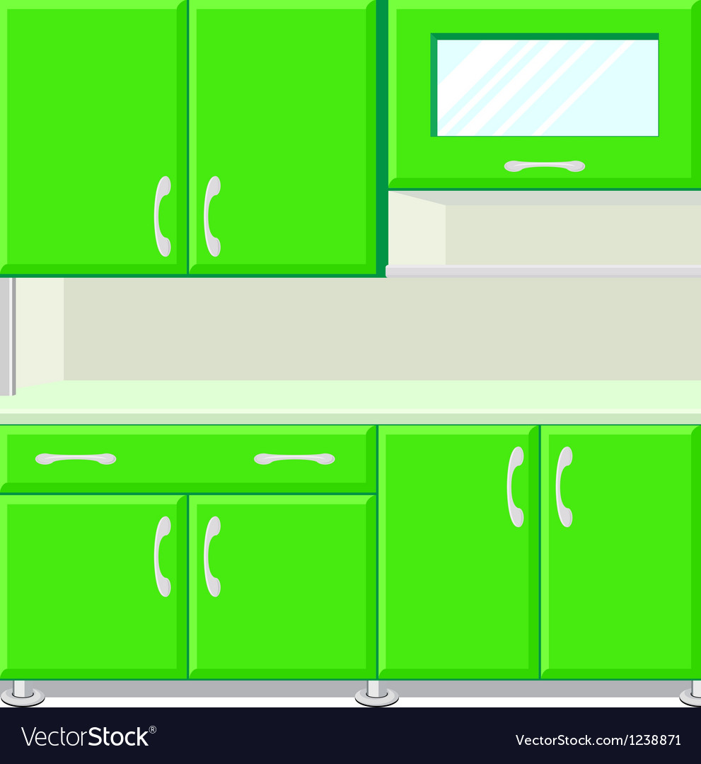 Kitchen with kitchen cabinets vector | Price: 1 Credit (USD $1)