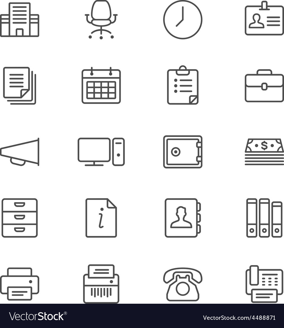 Office supplies thin icons vector | Price: 1 Credit (USD $1)