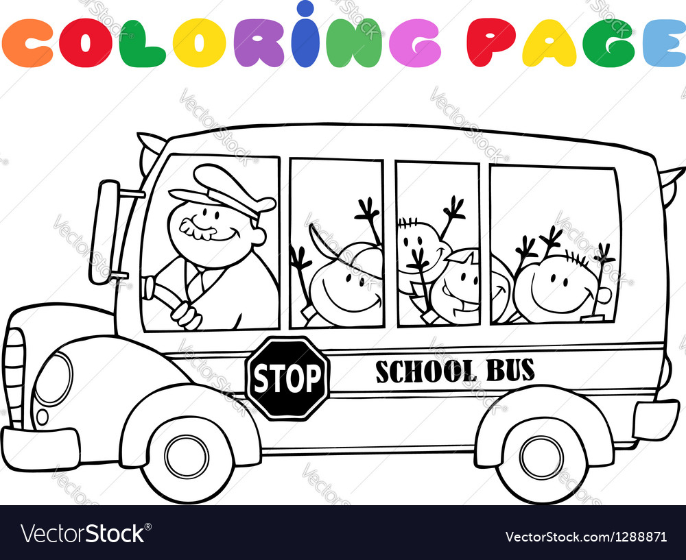 Outlined school bus with happy children vector | Price: 1 Credit (USD $1)