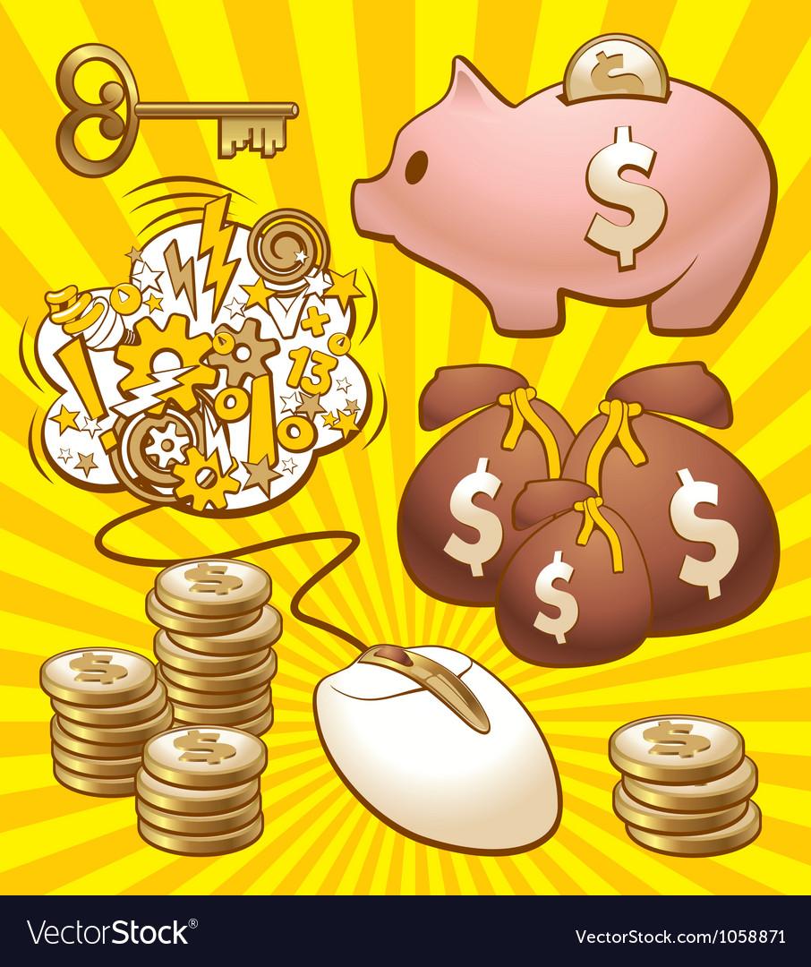 Set to make money vector | Price: 3 Credit (USD $3)