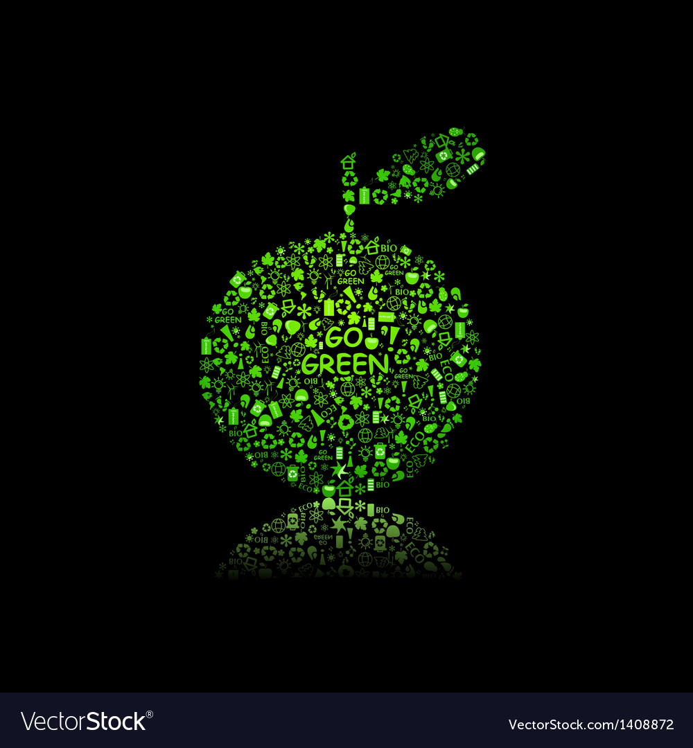 Apple silhouette filled with diiferent eco object vector | Price: 1 Credit (USD $1)